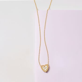 .34 ct. t.w. Diamond Cluster Heart Necklace in 14kt Yellow Gold