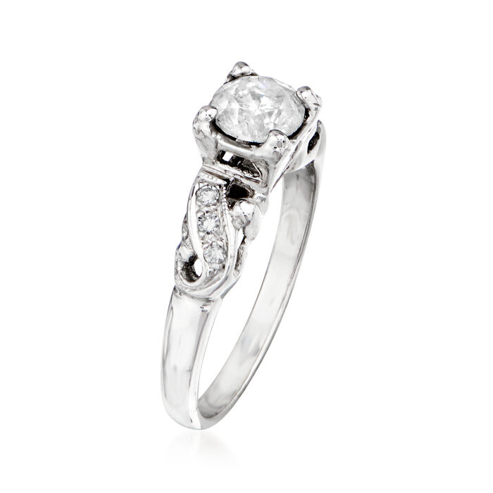 C. 1970 Vintage .76 ct. t.w. Diamond Swirl Ring in 14kt White Gold