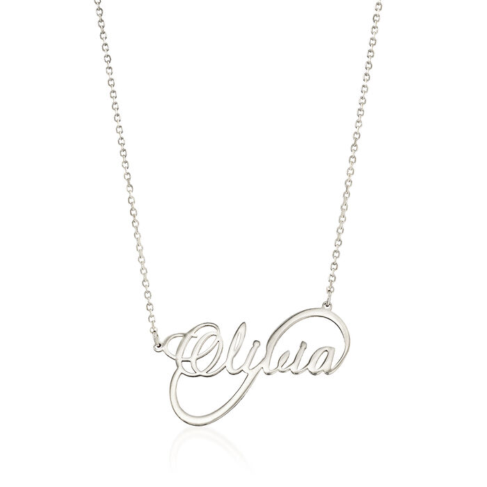 Sterling Silver Script Name Infinity-Style Necklace