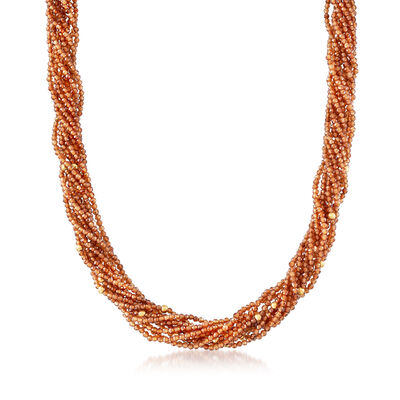 2-2.5mm Hessonite Torsade Bead Necklace with 14kt Yellow Gold, , default
