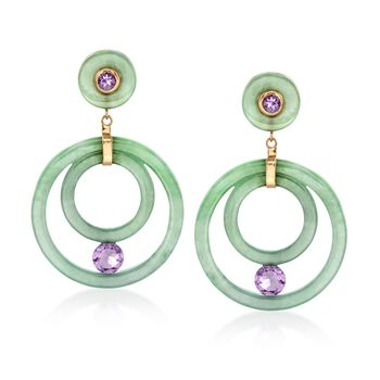 Green Jade and 2.90 ct. t.w. Amethyst Earrings in 14kt Yellow Gold, , default