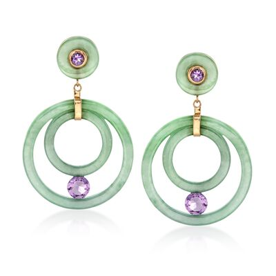 Green Jade and 2.90 ct. t.w. Amethyst Drop Earrings in 14kt Yellow Gold, , default