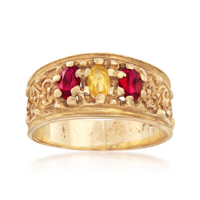 C. 1980 Vintage .55 ct. t.w. Synthetic Ruby and Yellow Sapphire Ring in 10kt Yellow Gold, , default