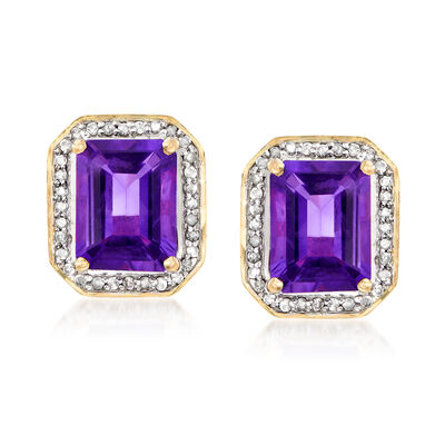 4.00 ct. t.w. Amethyst Earrings with .24 ct. t.w. Diamonds in 14kt Yellow Gold, , default