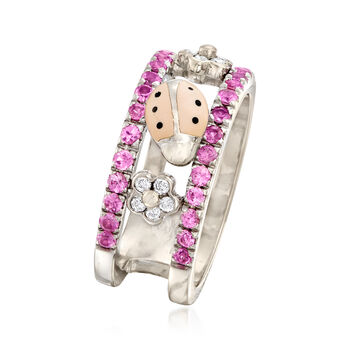 C. 1990 Vintage AAron Basha .80 ct. t.w. Pink Sapphire and .15 ct. t.w. Diamond Ladybug Ring in 18kt White Gold. Size 7