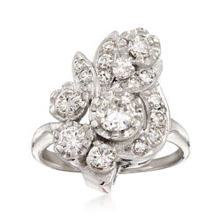 C. 1960 Vintage 1.30 ct. t.w. Diamond Cluster Ring in 14kt White Gold, , default