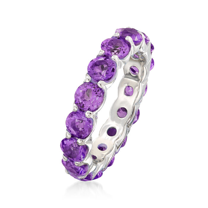 3.30 ct. t.w. Amethyst Eternity Band in Sterling Silver