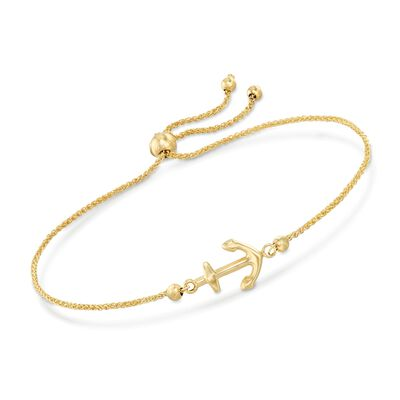 14kt Yellow Gold Nautical Anchor Bolo Bracelet, , default