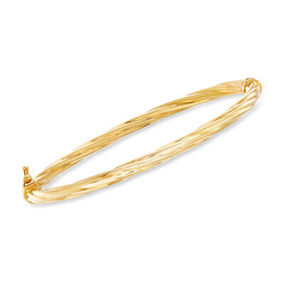 Italian 18kt Yellow Gold Twisted Bangle Bracelet