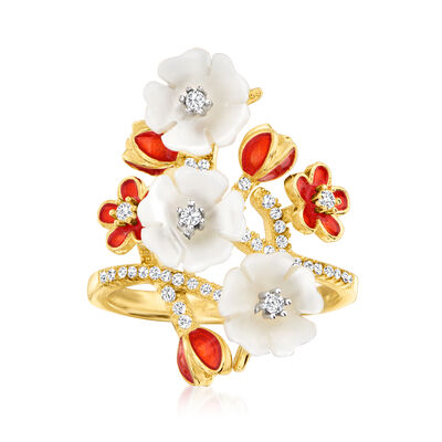 8-9mm Shell Pearl and .30 ct. t.w. White Topaz Flower Ring in 18kt Gold Over Sterling with Red Enamel