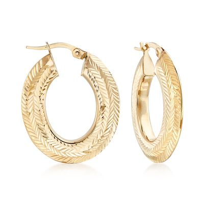 Italian Chevron-Patterned Hoop Earrings in 14kt Yellow Gold, , default