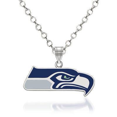 "Sterling Silver NFL Seattle Seahawks Enamel Pendant Necklace. 18"", , default"