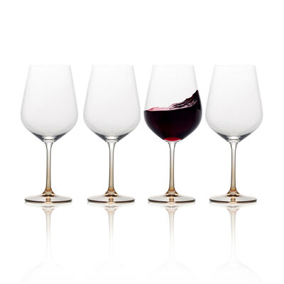 """Mikasa """"Gianna"""" Set of 4 Ombre Amber Red Wine Glasses"""