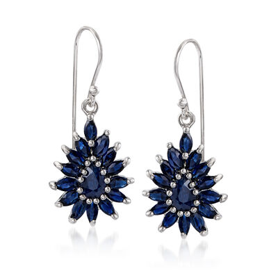 3.00 ct. t.w. Sapphire Cluster Drop Earrings in Sterling Silver