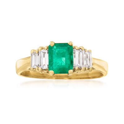 C. 1980 Vintage .75 Carat Emerald and .50 ct. t.w. Diamond Ring in 18kt Yellow Gold