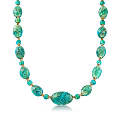 Italian Green Murano Bead Necklace in 18kt Yellow Gold Over Sterling Silver