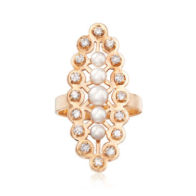 C. 1960 Vintage Cultured Pearl and .55 ct. t.w. Diamond Ring in 14kt Yellow Gold, , default