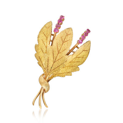 C. 1970 Vintage .65 ct. t.w. Ruby Leaf Pin in 18kt Yellow Gold