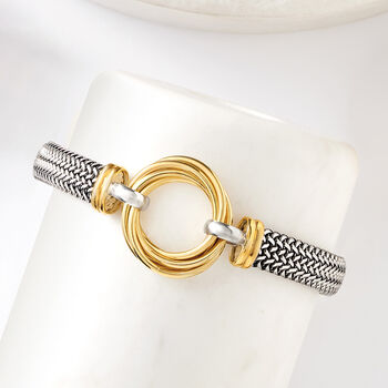 Italian Sterling Silver and 18kt Yellow Gold Over Sterling Silver Multi-Circle Bracelet