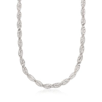 Italian Sterling Silver Twisted Curb-Link Necklace, , default