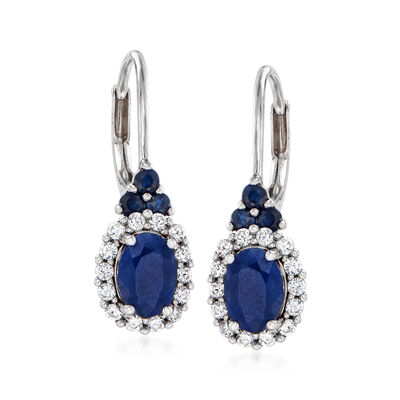 4.40 ct. t.w. Sapphire and .50 ct. t.w. White Zircon Drop Earrings in Sterling Silver