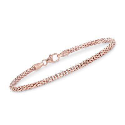 Italian 18kt Rose Gold Over Sterling Rounded Mesh Link Bracelet , , default