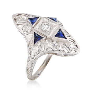 C. 1980 Vintage .25 ct. t.w. Diamond and .70 ct. t.w. Simulated Sapphire Ring in 18kt White Gold. Size 6