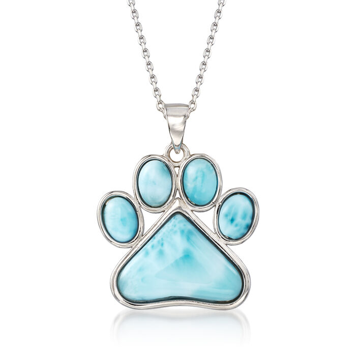 Larimar Paw Print Pendant Necklace in Sterling Silver