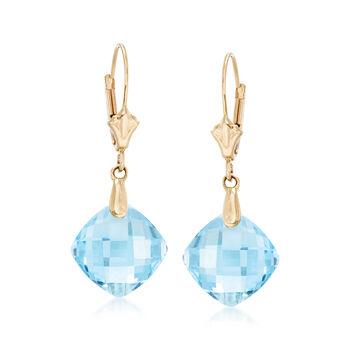 9.75 ct. t.w. Blue Topaz Earrings in 14kt Yellow Gold, , default