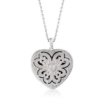 "Sterling Silver Scrolled Heart Locket Necklace With Diamond Accents. 16"", , default"