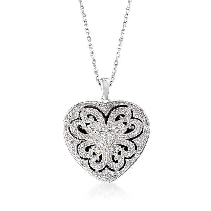 """Sterling Silver Scrolled Heart Locket Necklace with Diamond Accents. 16"""", , default"""