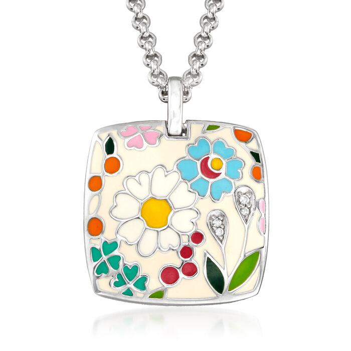 Belle Etoile Flower Garden Enamel Pendant in Sterling Silver, , default