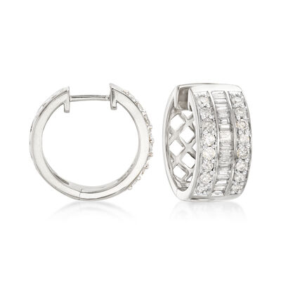 1.00 ct. t.w. Baguette and Round Diamond Hoop Earrings in Sterling Silver, , default