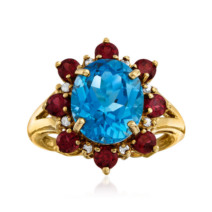 C. 1980 Vintage 5.00 Carat Blue Topaz and 1.20 ct. t.w. Rhodolite Garnet Ring with Diamond Accents in 14kt Yellow Gold. Size 6, , default