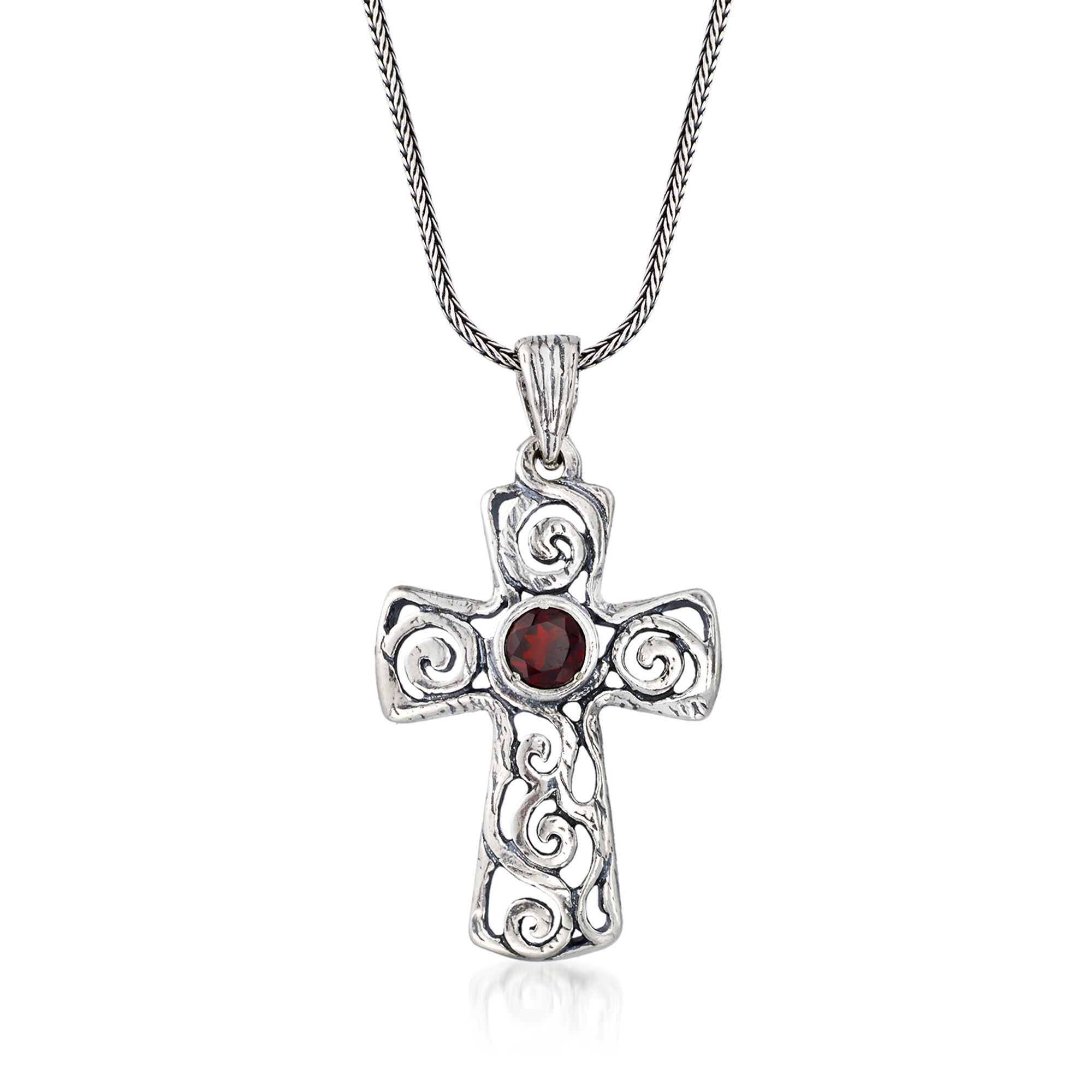 Sterling Silver Brilliant Cut CZ Latin Cross Stud Earrings and Pendant Set Assorted colors for women Swirl-design