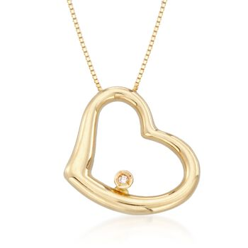 "Roberto Coin 18kt Yellow Gold Heart Medium Necklace With Diamond Accent. 16"", , default"