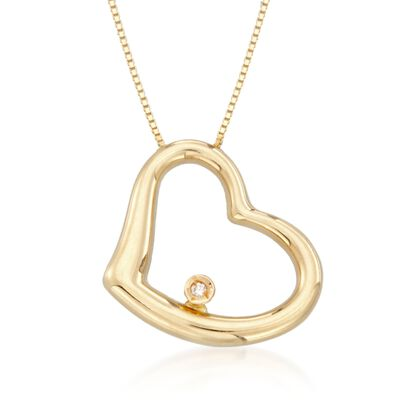 Roberto Coin 18kt Yellow Gold Heart Medium Necklace with Diamond Accent, , default