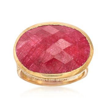 20.00 Carat Red Corundum Ring in 18kt Gold Over Sterling, , default
