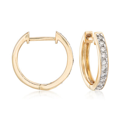 .25 ct. t.w. Diamond Huggie Hoop Earrings in 14kt Yellow Gold, , default
