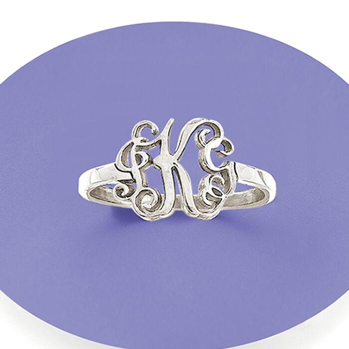 Sterling Silver Script Monogram Ring