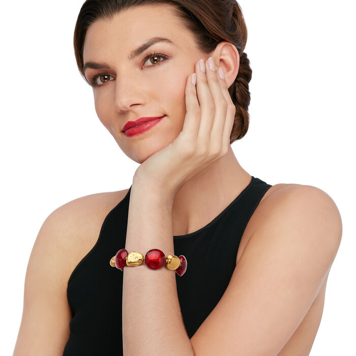 C. 2000 Vintage Red Glass and 14kt Yellow Gold Bead Bracelet