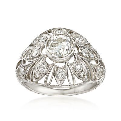 C. 1950 Vintage 1.15 ct. t.w. Diamond Filigree Ring in Platinum