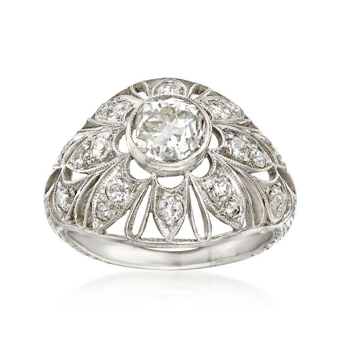 C. 1950 Vintage 1.15 ct. t.w. Diamond Filigree Ring in Platinum. Size 4.5