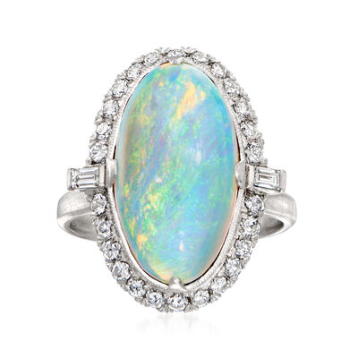 C. 1950 Vintage Opal and .45 ct. t.w. Diamond Ring in Platinum