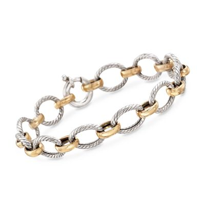Sterling Silver and 18kt Bonded Gold Twisted Link Bracelet, , default