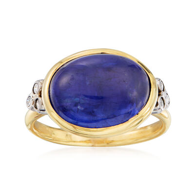Mazza 8.40 Carat Tanzanite and .12 ct. t.w. Diamond Ring in 14kt Yellow Gold, , default