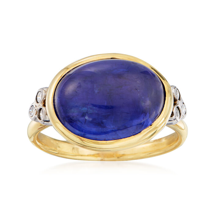 Mazza 8.40 Carat Tanzanite and .12 ct. t.w. Diamond Ring in 14kt Yellow Gold