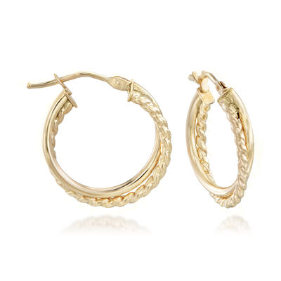 Italian Twisted 14kt Yellow Gold Hoop Earrings, , default