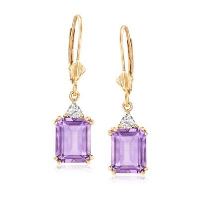 4.90 ct. t.w. Amethyst and .30 ct. t.w. White Topaz Drop Earrings in 14kt Yellow Gold