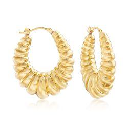 Italian Andiamo 14kt Yellow Gold Ribbed Hoop Earrings, , default